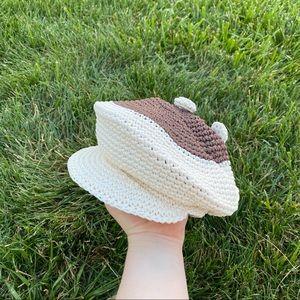 Vtg 90s woven knit hat colorblock baker boy
